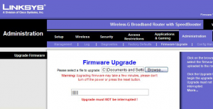 "Click ""Upgrade"" and the firmware will begin updating"